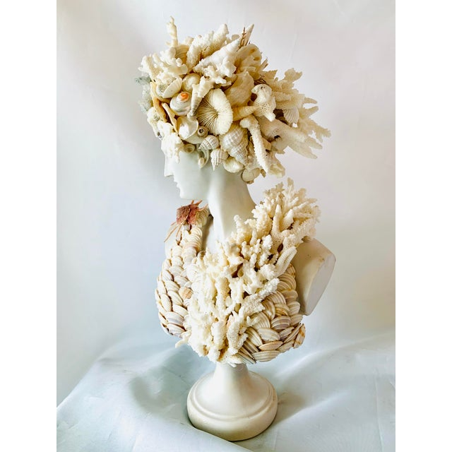 Diana, Roman goddess of the Hunt and Moon, is finely cast in marble and encrusted with a myriad of shells, Rock Crystal...