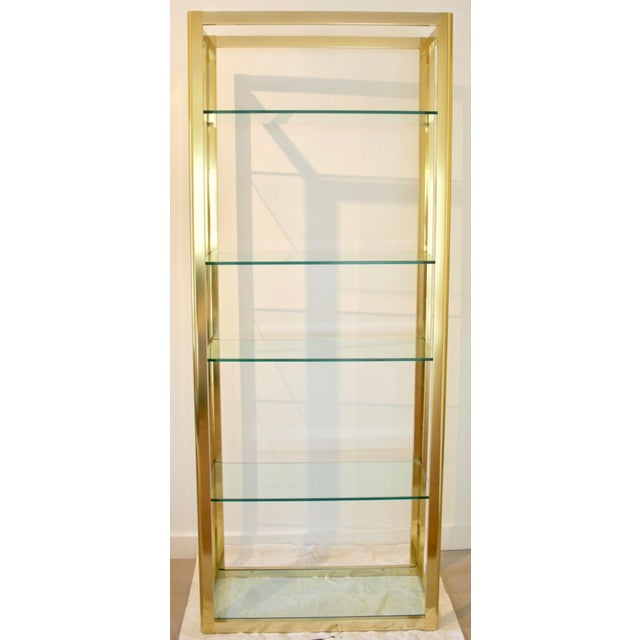 Milo Baughman Style Brass Etagere Shelving Unit For Sale - Image 4 of 11
