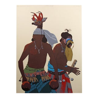 "1980s Louis De Mayo ""The Yaqui Deer Dancer"" Hand Signed Serigraph Art Print Unframed For Sale"