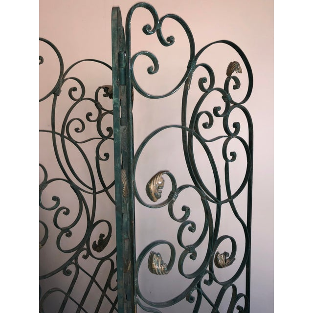 Antique Green Wrought Iron Folding Divider For Sale - Image 4 of 12