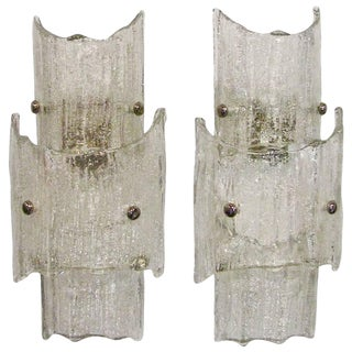 1960s Contemporary Kalmar Austrian Textured Clear Glass Wall Sconces - a Pair