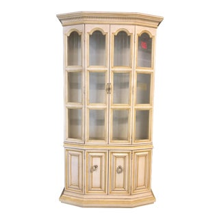 Baker Breakfront French Country Glass Shelves, Lighting and Two Storage Cabinet - 2 Pc.