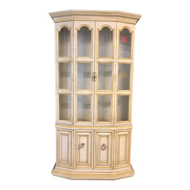 Baker Breakfront French Country Glass Shelves, Lighting and Two Storage Cabinet - 2 Pc. For Sale