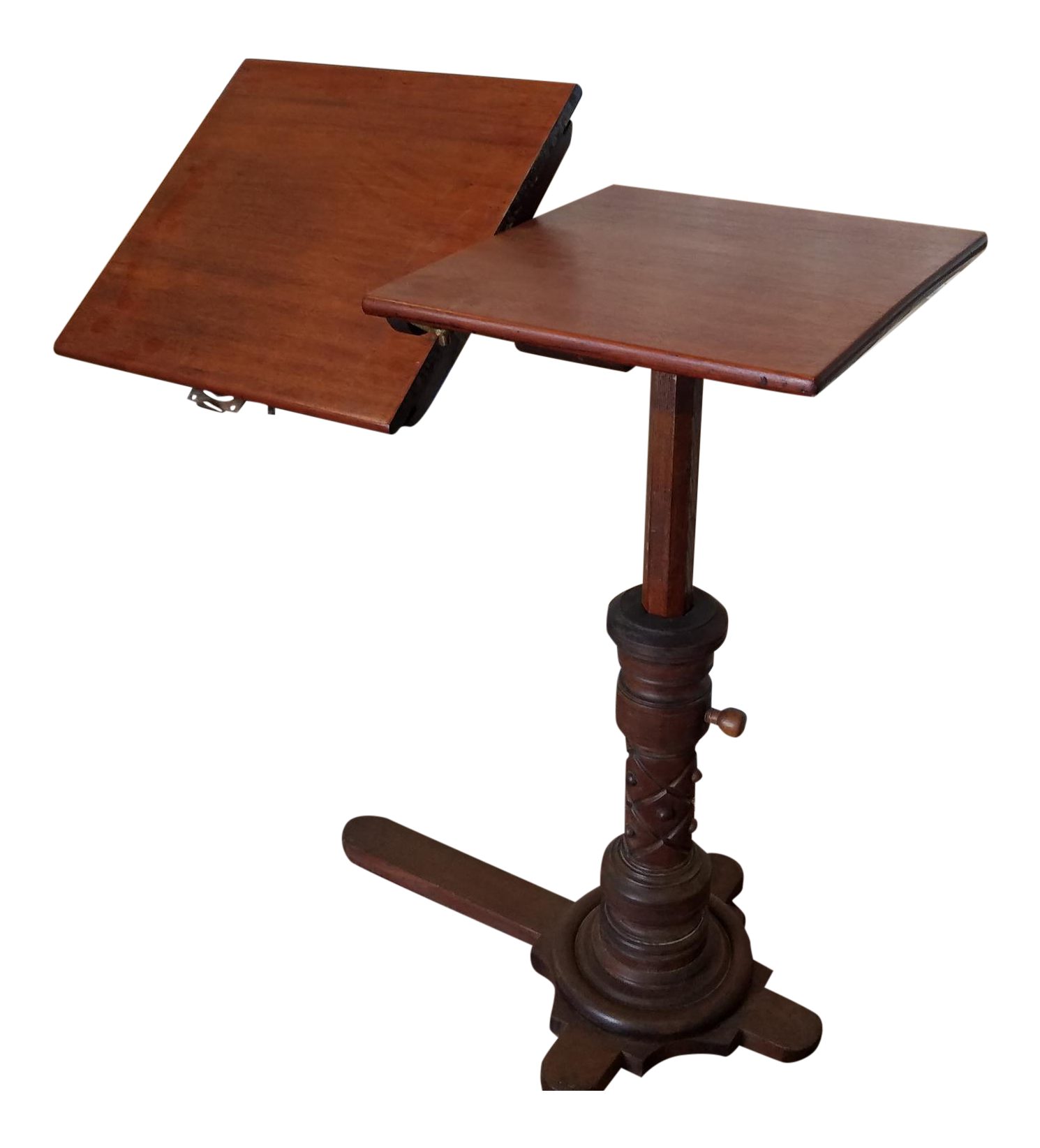 Very Good Antique Victorian Mahogany Adjustable Book Reading Bed Table W/  Tilt C1880