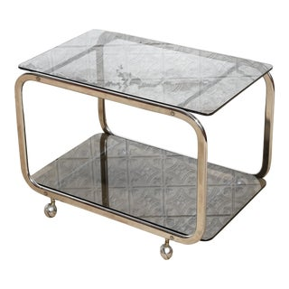 Vintage Smokey Glass Top Rolling Cart