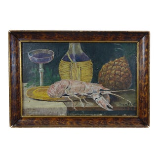"""Small Lobster Still Life Oil on Canvas, Signed """"Gaali Z. 1930"""" For Sale"""