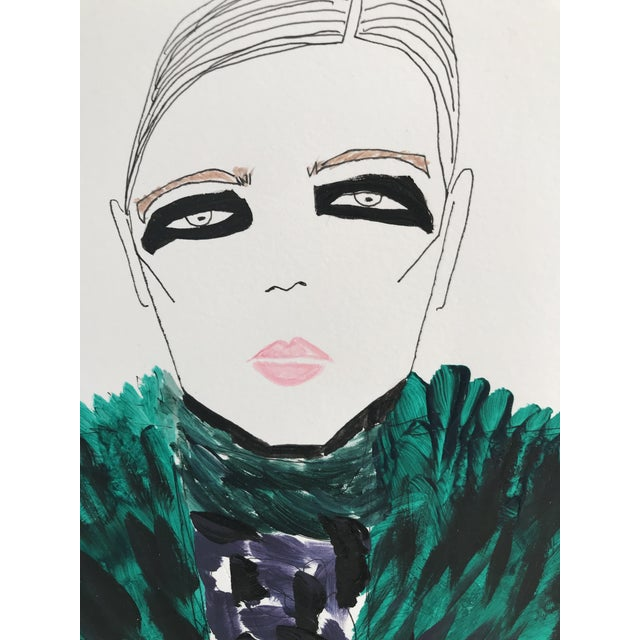 """2010s Original Watercolor Illustration, """"Green Fur, Black Eyes"""" by Carly Kuhn For Sale - Image 4 of 5"""