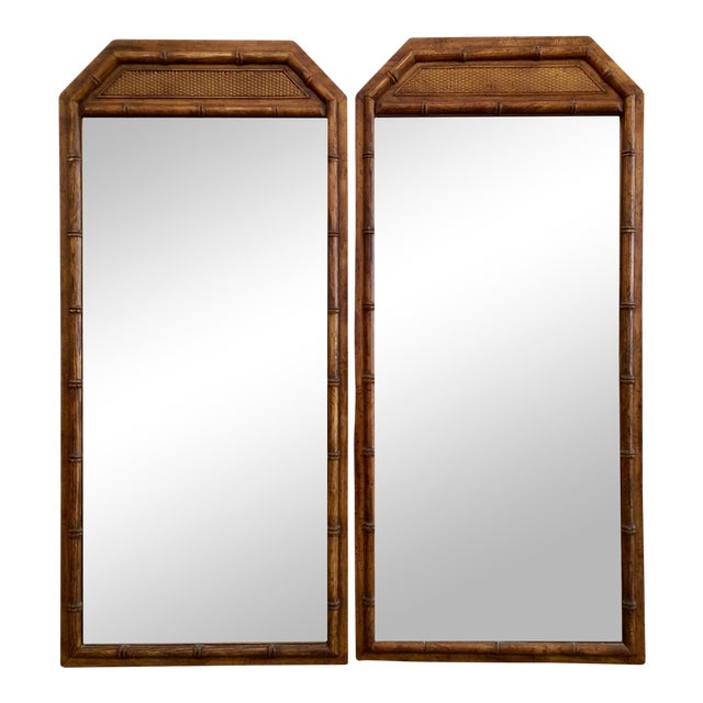 Large Faux Bamboo Mirrors - A Pair - Image 1 of 5
