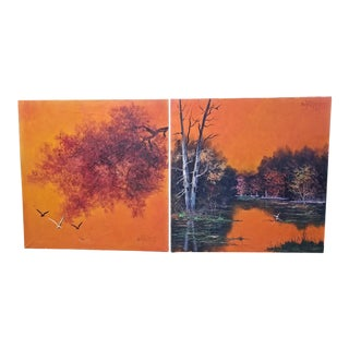 Pair of Fred Sabater Oils on Canvas For Sale