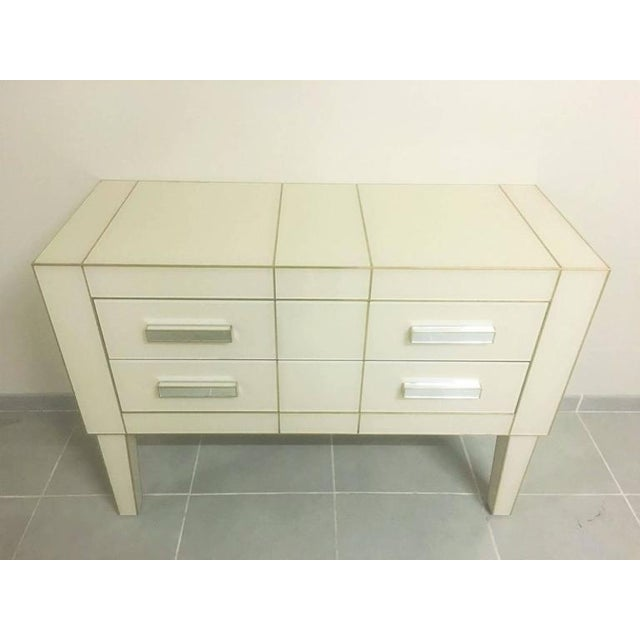 Modern White Cream Mirrored Glass Commode / Chest of Drawers For Sale - Image 3 of 5