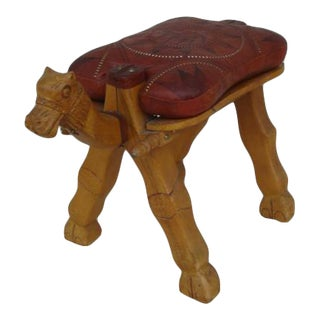 Vintage Mid Century Camel Saddle Stool For Sale