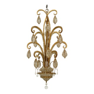"French Art Deco Style ""Octopus"" Gilt Metal & Beaded Glass Chandelier"