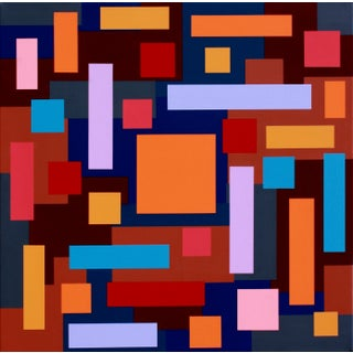 """Mesmerize Orange-Mandarin"" Contemporary Geometric Hard Edge Acrylic Painting by Sassoon Kosian For Sale"
