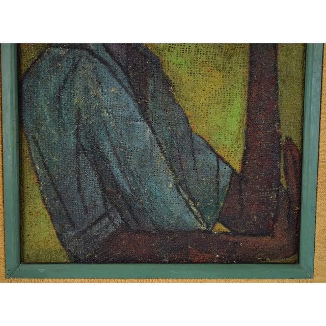 Vintage Mid-Century Man in Floppy Hat De Buren Haitian Oil Painting For Sale - Image 4 of 8