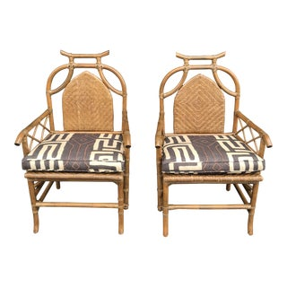 1970s Pagoda Style Rattan Cane Arm Chairs - a Pair For Sale