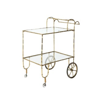 20th Century Hollywood Regency Faux Bamboo Bar Cart For Sale