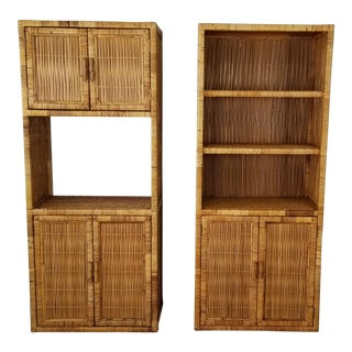Bielecky Brothers Woven Rattan Book Shelf - a Pair . For Sale