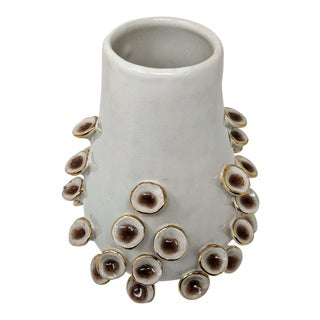 Organic Modern Cream, Chocolate, and Gold Mushroom Fungi Handmade Decorative Vase For Sale