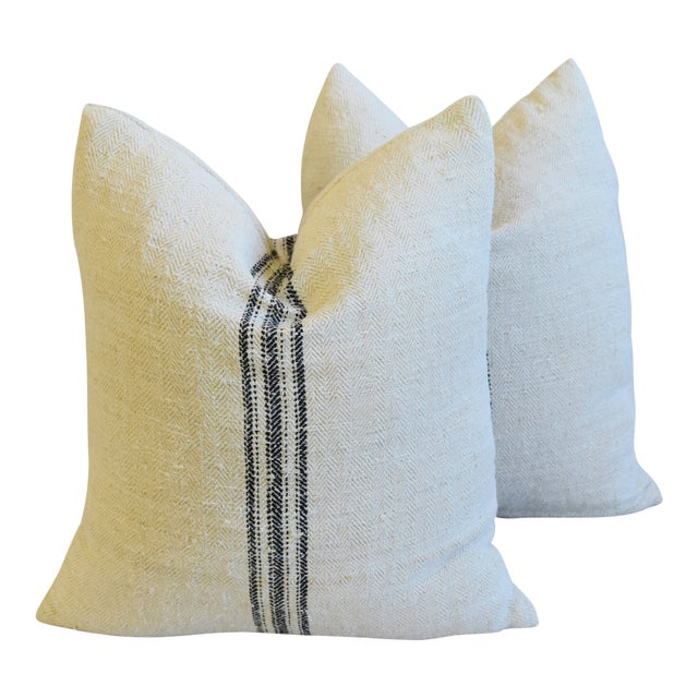 """French Woven Black Striped Grain Sack Feather/Down Pillows 20"""" X 21"""" - Pair For Sale"""
