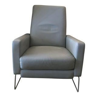 Modern Design Within Reach Vienna Leather Mist Grey and Stainless Steel Flight Recliner For Sale