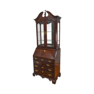 Thomasville Collectors Cherry Chippendale Style Curio Top Secretary Desk