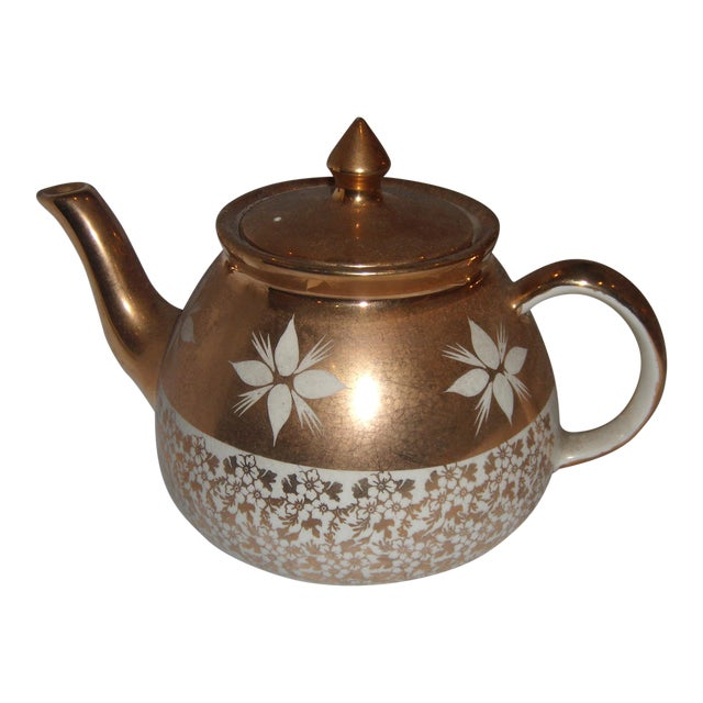 White & Gold China Teapot For Sale