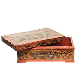 Asian Antique Large Hand-Painted Red Burmese Lacquered Box For Sale