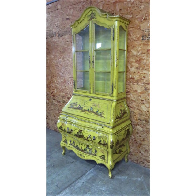 Yellow Chinoiserie Bombay form base Secretary desk , decorated with Asian figures and designs , Black leather writing...