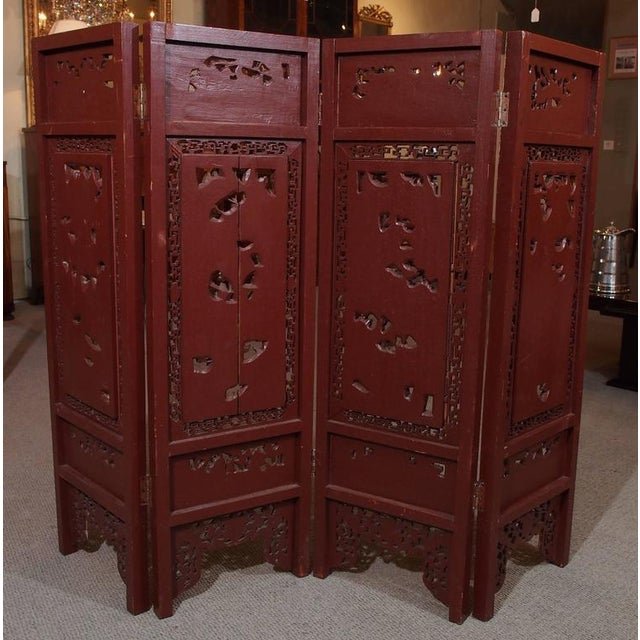 Antique Chinese Four-Panel Screen For Sale - Image 9 of 10