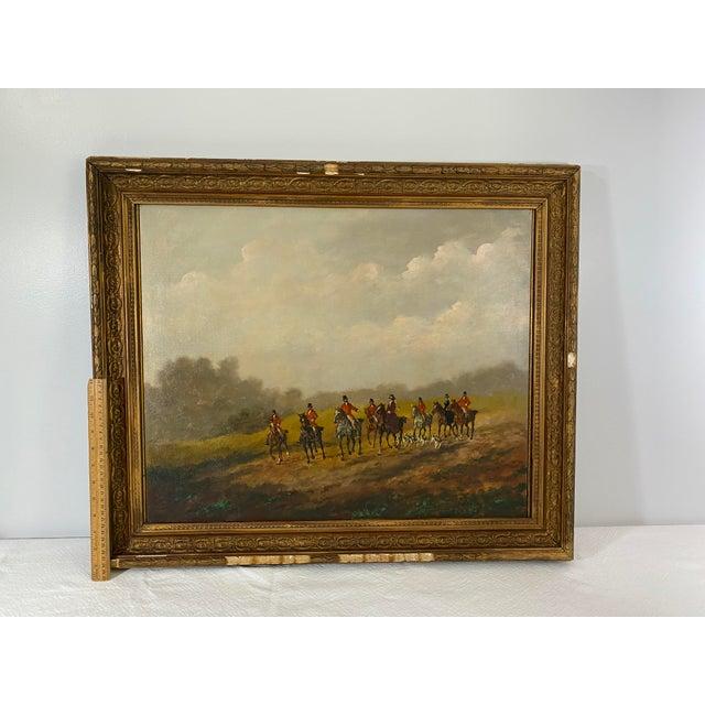 Antique Framed Hunt Scene Painting For Sale - Image 9 of 13