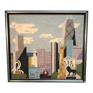 20th Century Chicago Landscape Wool Needlepoint Textile Art For Sale