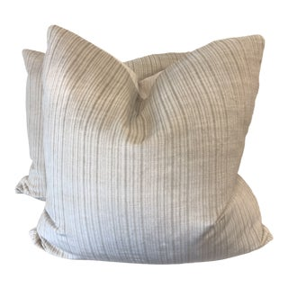 "Lee Jofa ""Velvet Strie"" 22"" Pillows a Pair For Sale"