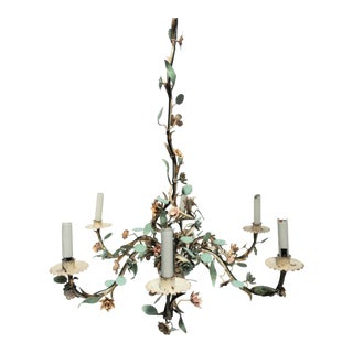 1940s Italian Enamel and Gold Gilt Tole Chandelier For Sale