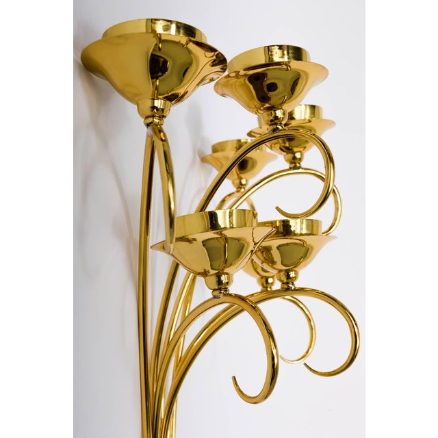 Metal Brass Sconces Wall Lights in the Manner of Tommi Parzinger For Sale - Image 7 of 10