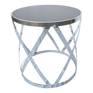 Round Dark Gray and Steel Side Table