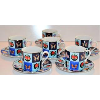 Vintage Mid Century Gucci Guccissimo Porcelain Espresso Cup Saucer Set- 12 Pieces Preview