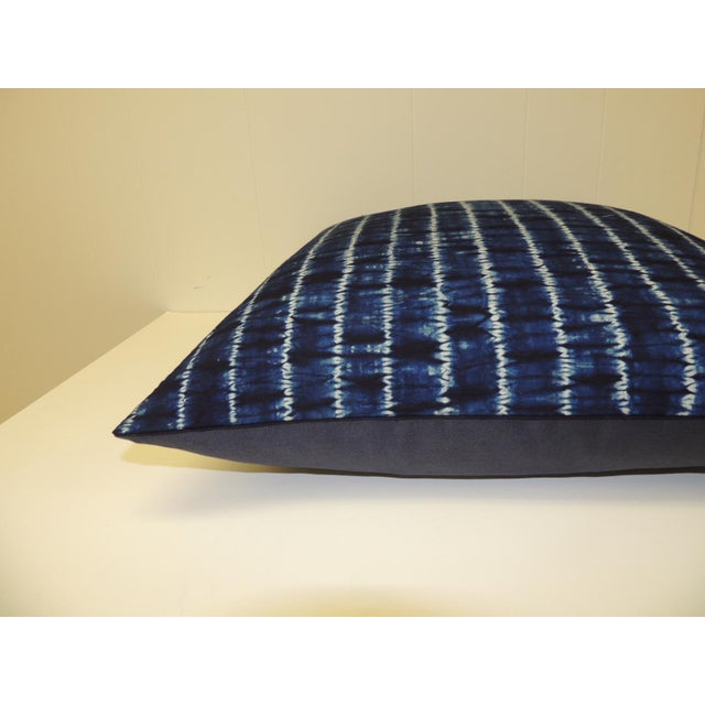 African Vintage Indigo and White African Resist-Dye Textile Decorative Pillow For Sale - Image 3 of 5