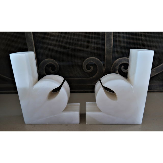 Art Deco 1950s Minimalist Onyx Agave Bookends - a Pair For Sale - Image 3 of 6