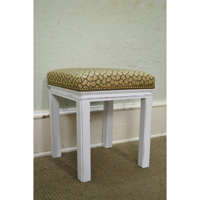 Textile Mid Century Pair of Custom Painted Square Stools Benches For Sale - Image 7 of 11