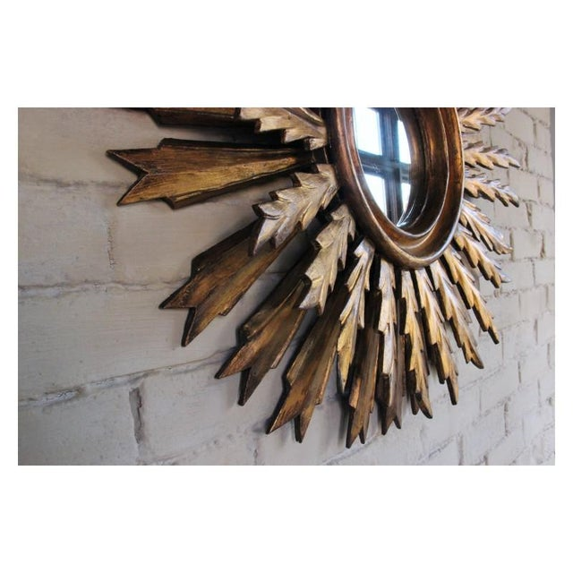 Mid-Century French Double Layer Sunburst Mirror With Original Mirror Glass For Sale - Image 10 of 10