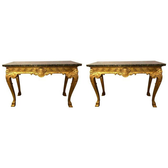 George II Style Carved Giltwood Marble Top Console Tables - A Pair For Sale - Image 11 of 12