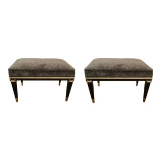 Caracole Art Deco Beauty Mark Cut Velvet Benches - a Pair For Sale
