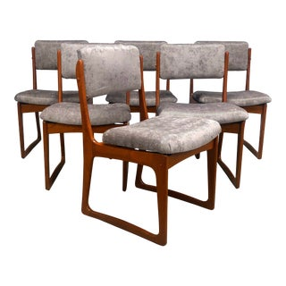 Danish Modern Sculptured Teak Dining Chairs - Set of 6 For Sale