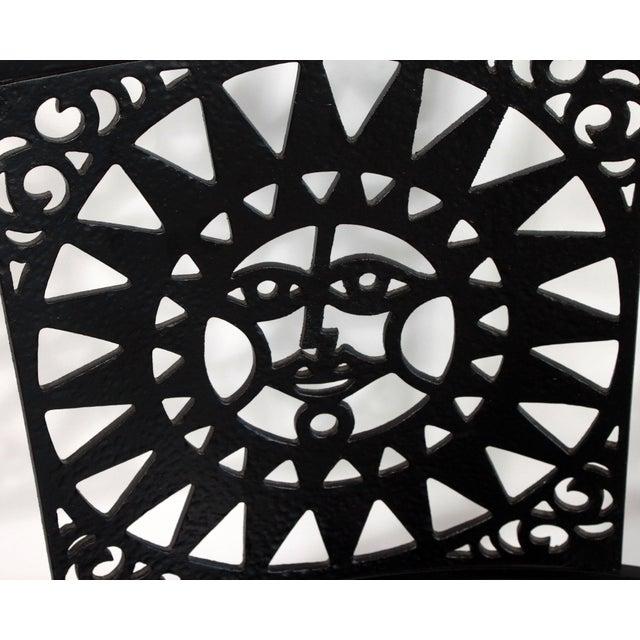 1950s 1950s Mid Century Modern Arthur Umanoff Mayan Sun Cast Iron Chairs - a Pair For Sale - Image 5 of 13