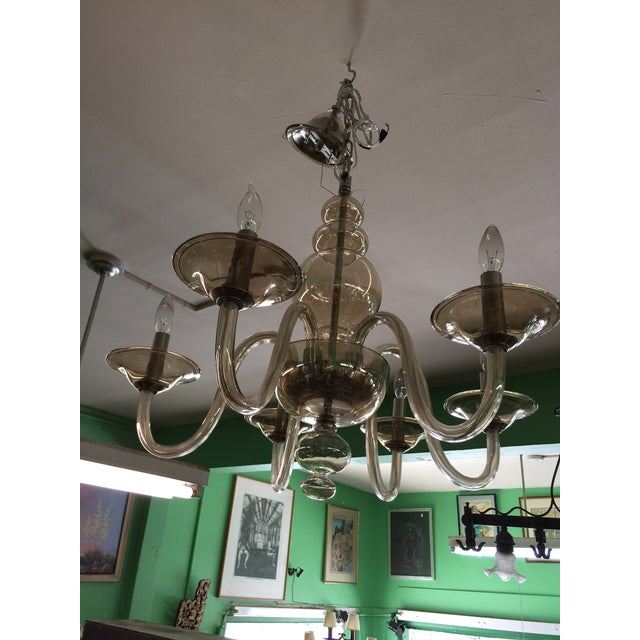 Italian Smoked Glass Chandelier 6 Light For Sale - Image 4 of 7
