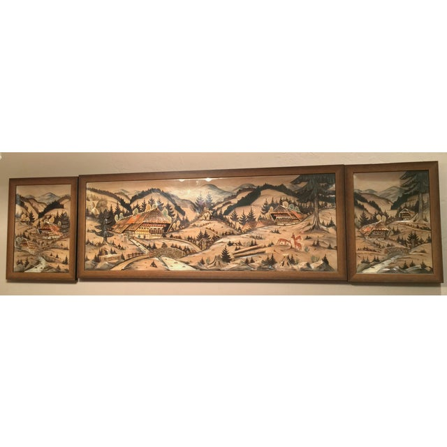 3-Piece Painted Wood Relief Mountain Diorama - Image 2 of 8