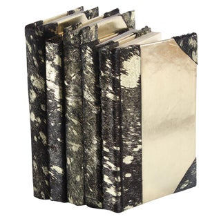 Black & Gold Metallic Hide Books - Set of 5 For Sale