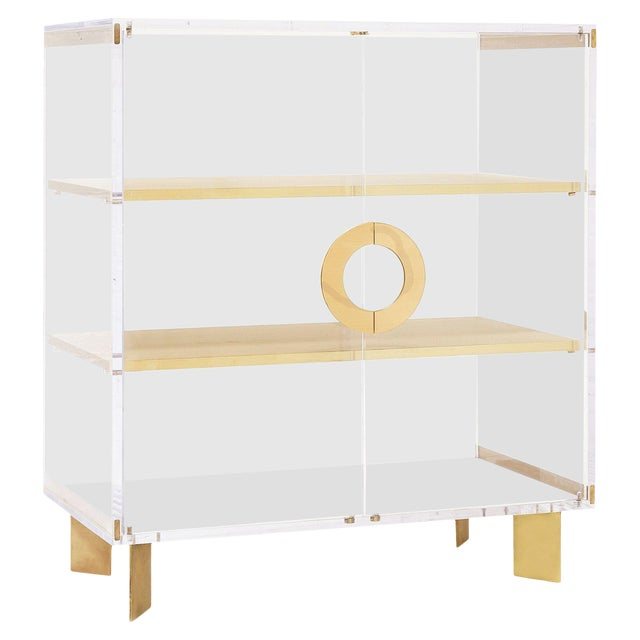 Custom Lucite Cabinet With Brass Shelves For Sale