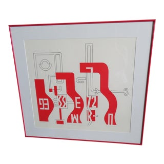 Mid-Century Cubist Red & White Abstract Artwork
