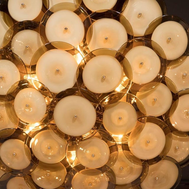 Flush Mount Murano Disc Chandelier in Smoked Topaz with Brass Base For Sale In New York - Image 6 of 8